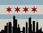 Chicago Flag and Skyline Full Word Chart