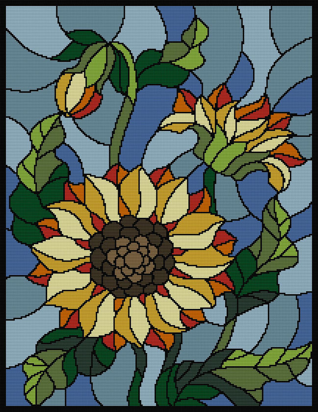 Stain Glass Sunflower Full Word Chart