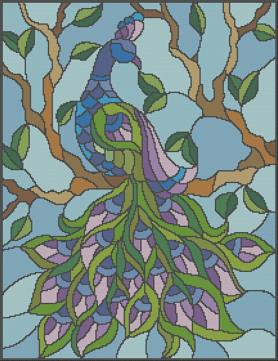 Stain Glass Peacock LAV Diamond Painting-Cross Stitch 2-1 Format
