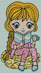 Blonde Hair Reading Girl Full Coverage Cross Stitch Chart (Includes 4 Hair Color Sub)