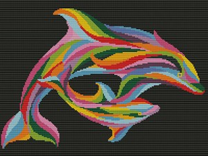 Mom and Baby Dolphin Rainbow Art Diamond Painting Word Chart