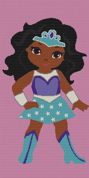 African American Hero Girl 6 Twin Word Chart