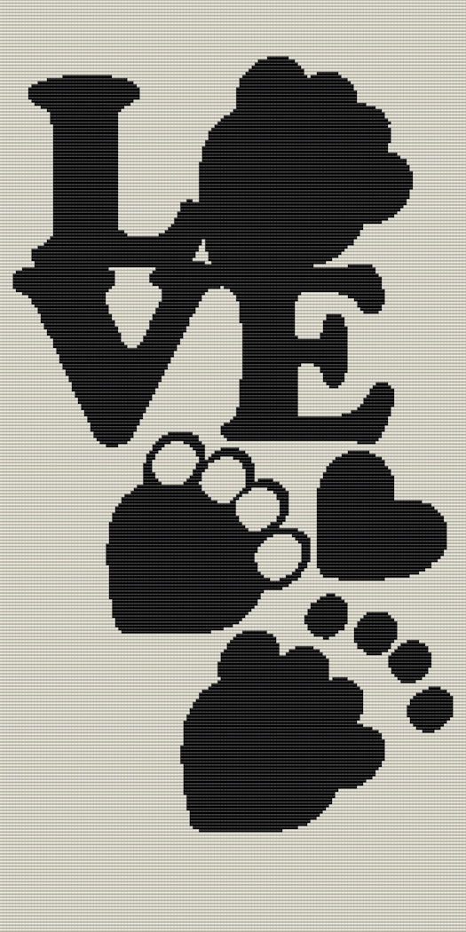 Black Pet Paws Love Twin Word Chart